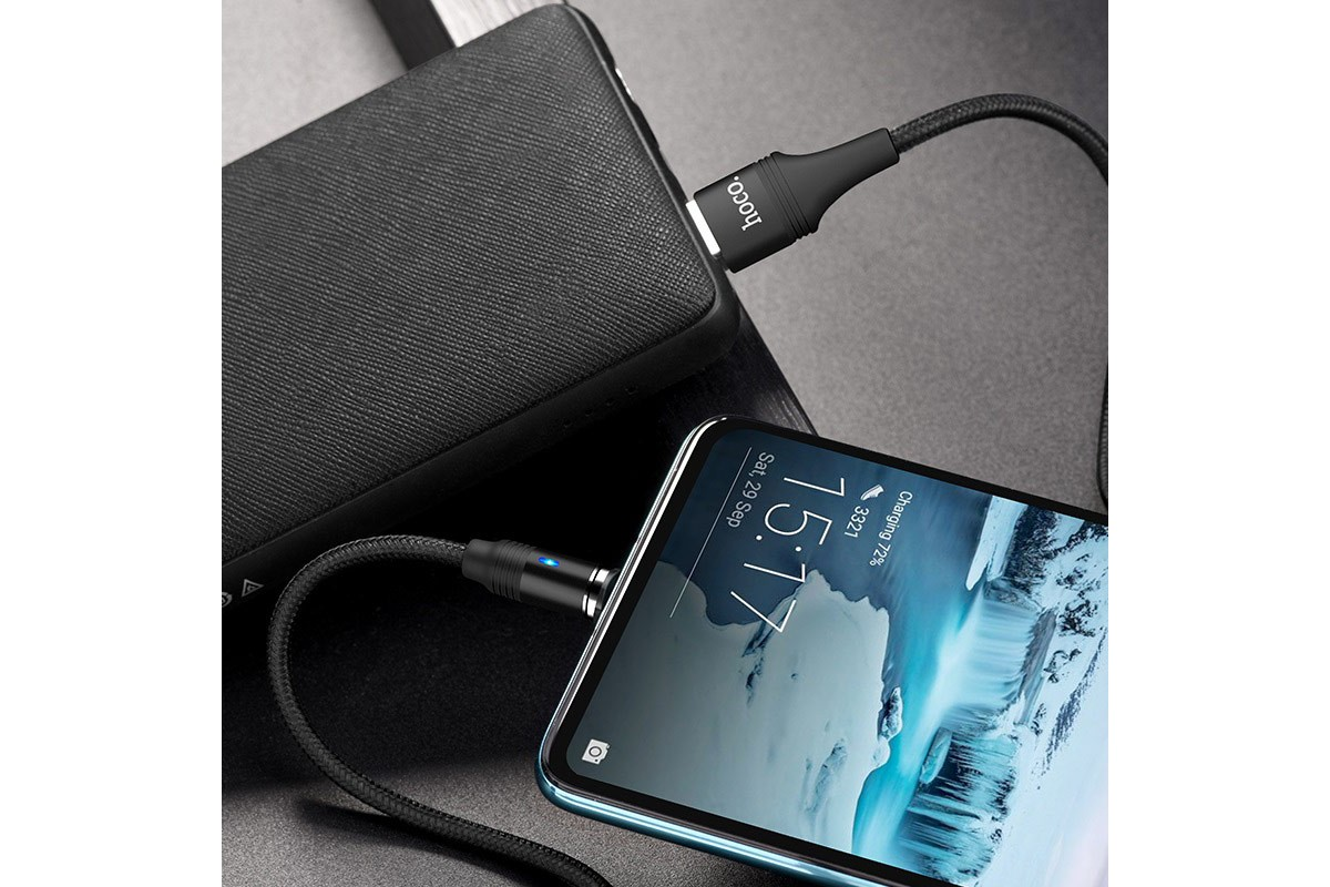 Кабель USB HOCO U76 Fresh magnetic charging cable for Type-C (черный) 1 метр