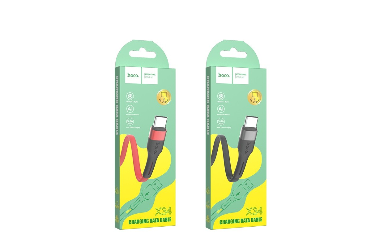 USB D.CABLE HOCO X34 Surpass charging data cable for Type-C (черный) 1 метр