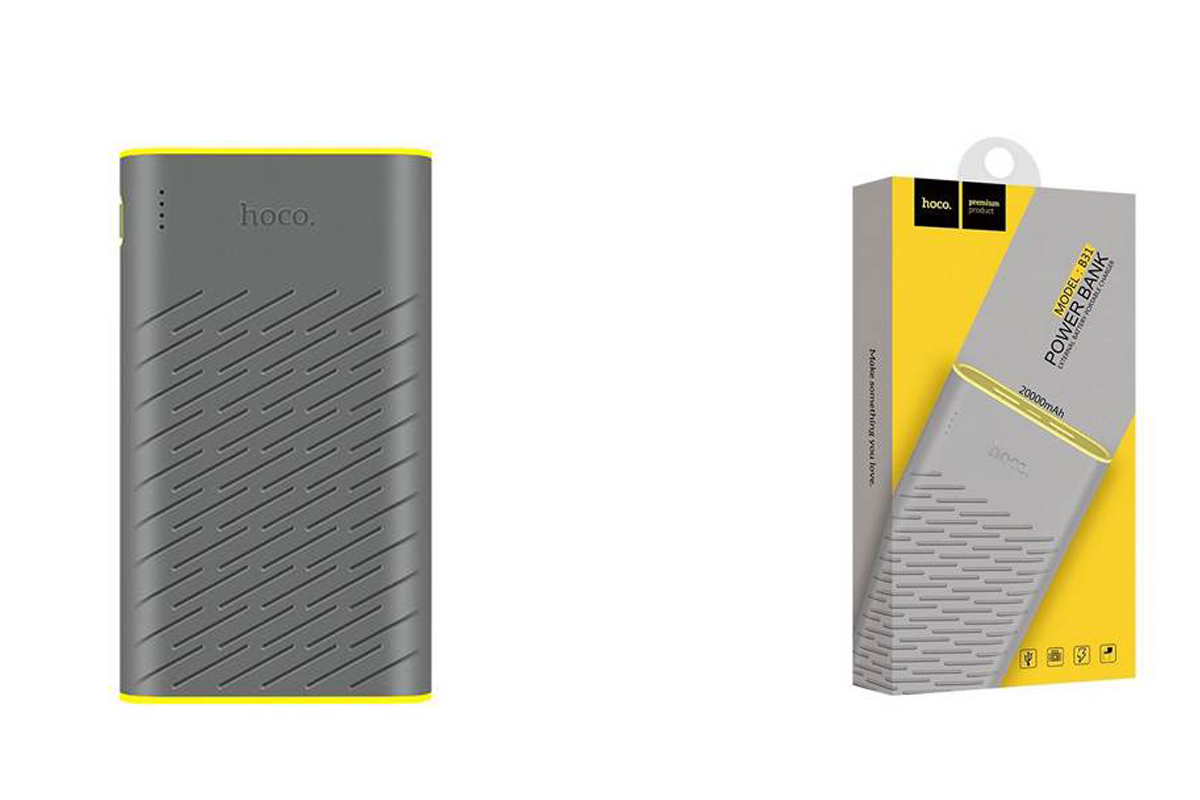 Универсальный дополнительный аккумулятор HOCO B31 Rege Bank 20000 mAh серый