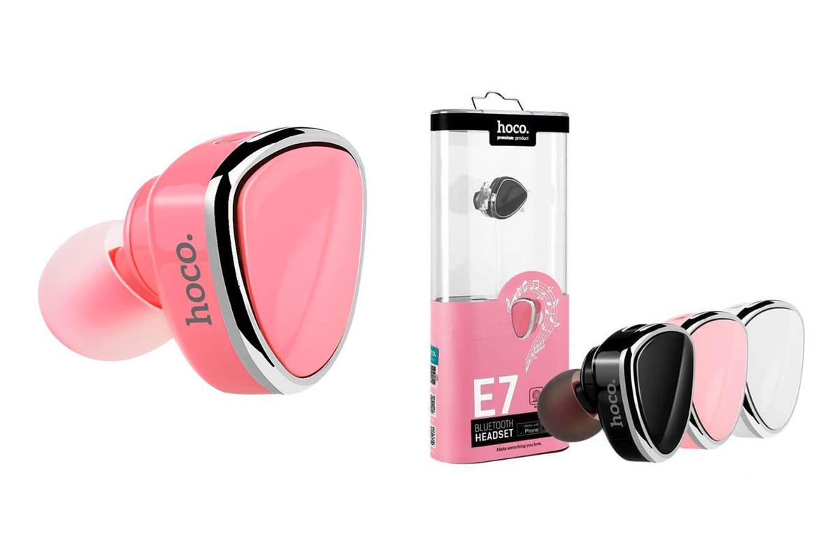 Bluetooth-гарнитура E7 HOCO розовая