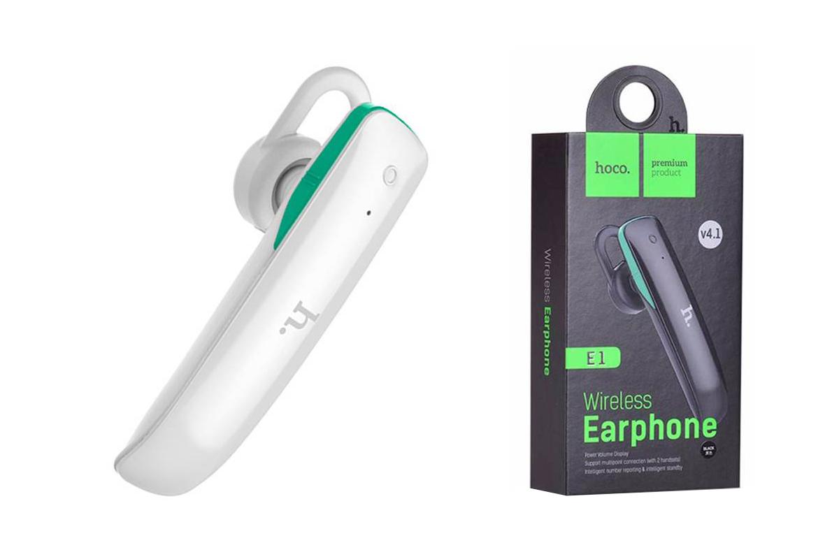 Bluetooth-гарнитура E1 HOCO белая