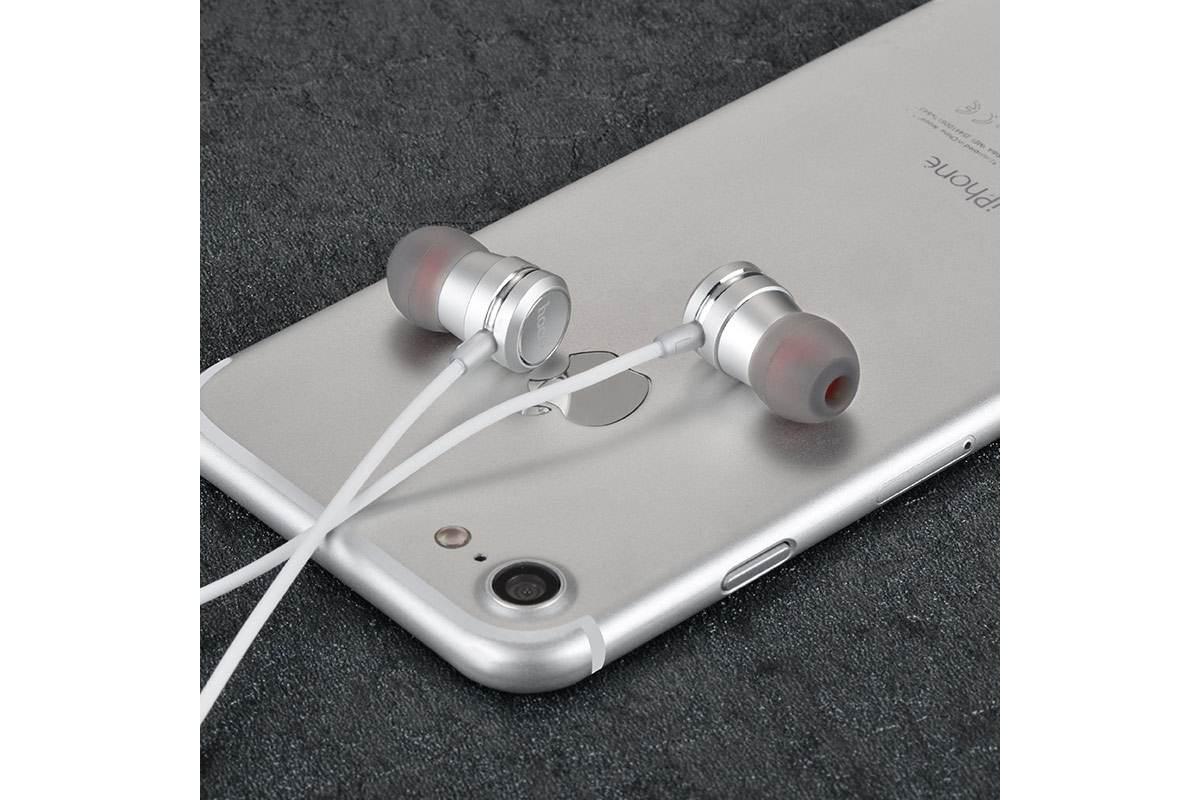 Гарнитура HOCO M16 Ling sound metal 3.5мм серебристая