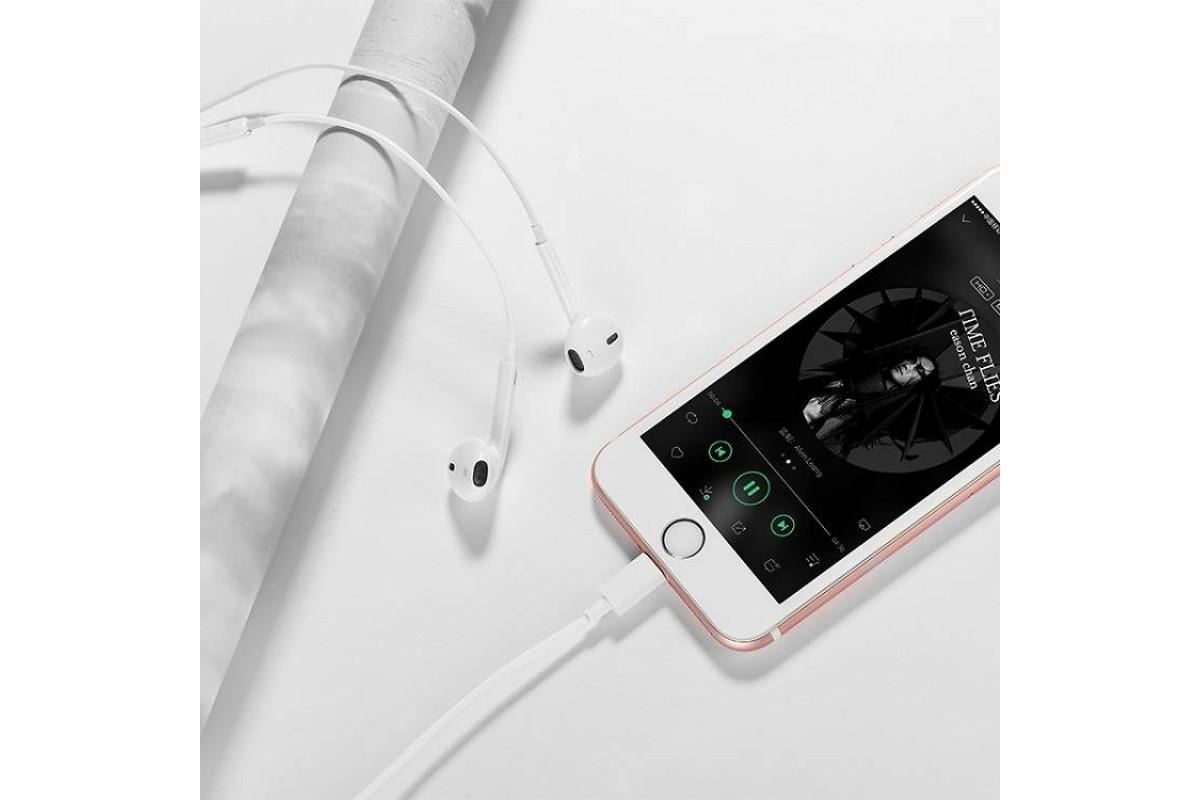 Гарнитура (наушники с микрофоном) вакуумная проводная HOCO L7 iPhone 7/8/X цвет белый