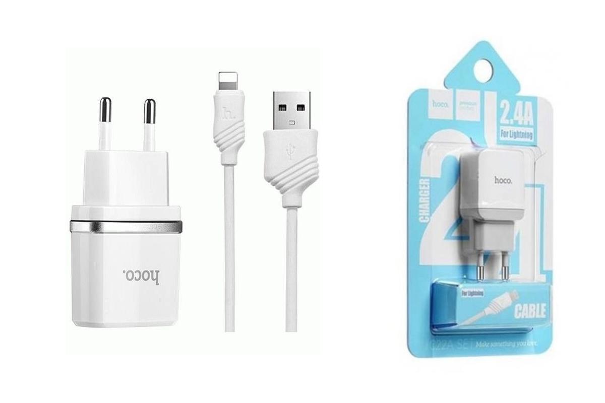 Сетевое зарядное устройство USB 2400mAh + кабель iPhone 5/6/7 HOCO C22А белый