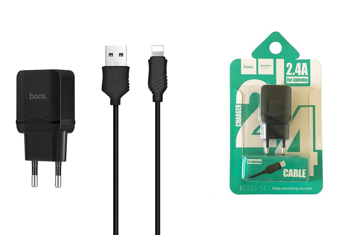Сетевое зарядное устройство USB 2400mAh + кабель iPhone 5/6/7 HOCO C22А черный