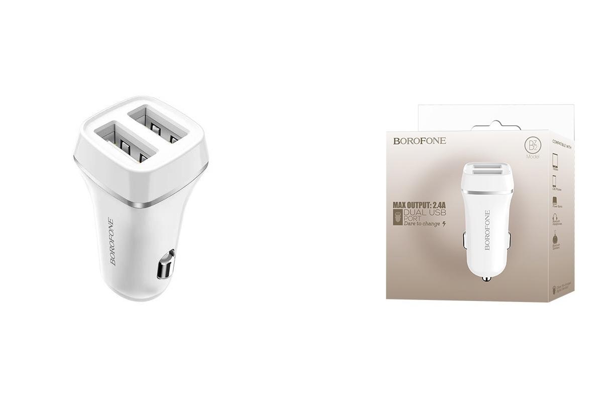 АЗУ 2USB BOROFONE BZ2 Joyroad dual port USB car charger 2400 mAh белый