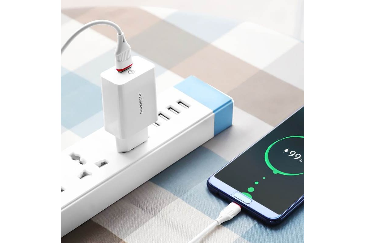 Сетевое зарядное устройство USB + кабель micro USB BOROFONE BA21A Long journey single port QC3.0 charger set белый