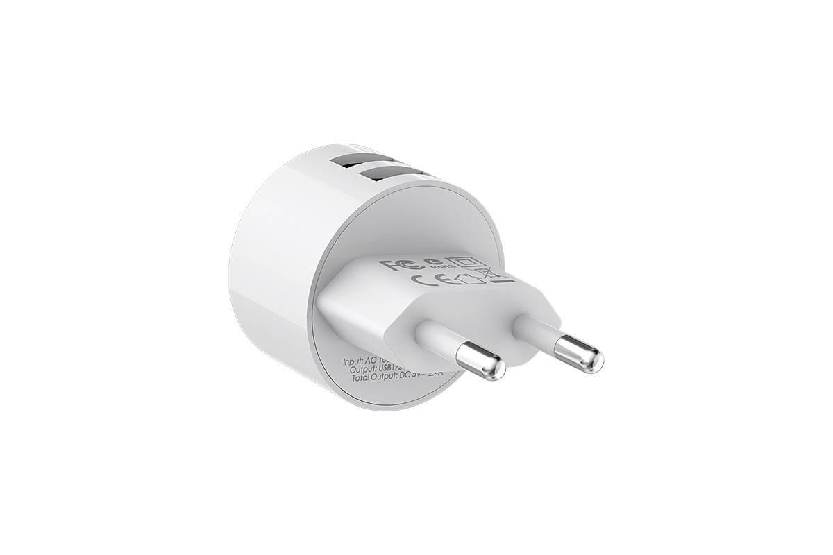 Сетевое зарядное устройство 2USB + кабель Type-C BOROFONE BA23A Brilliant dual port charger set белый