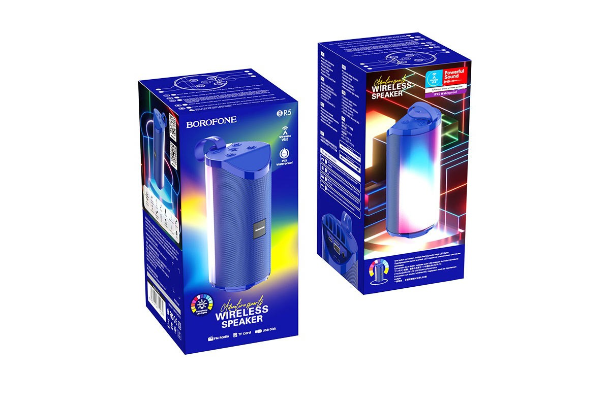 Портативная беспроводная акустика BOROFONE BR5 Adventure sports wireless speaker  цвет синий