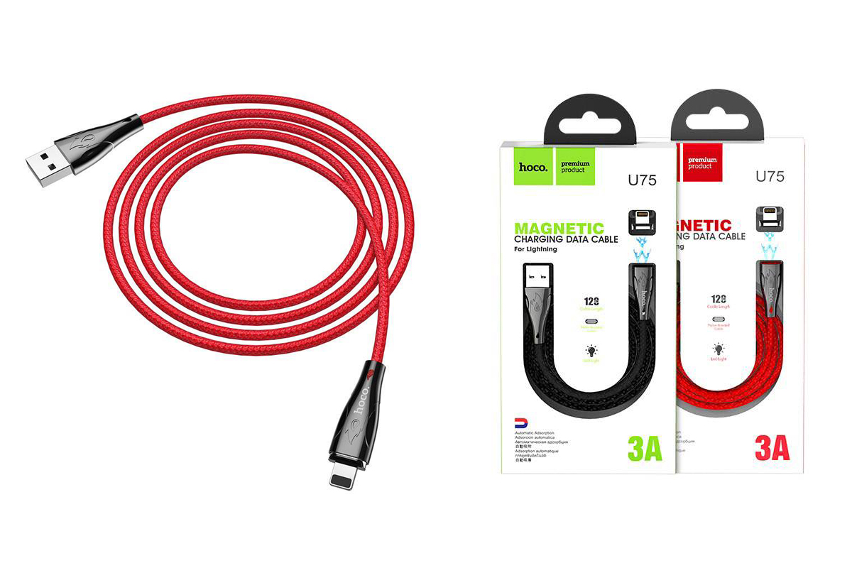 Кабель для iPhone HOCO U75 Blaze magnetic charging cable for Lightning 1м красный