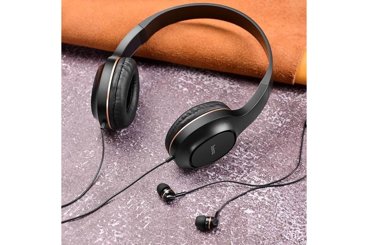 Внешние наушники/гарнитура  HOCO W24 Enlighten headphones with mic set черно/золотистая