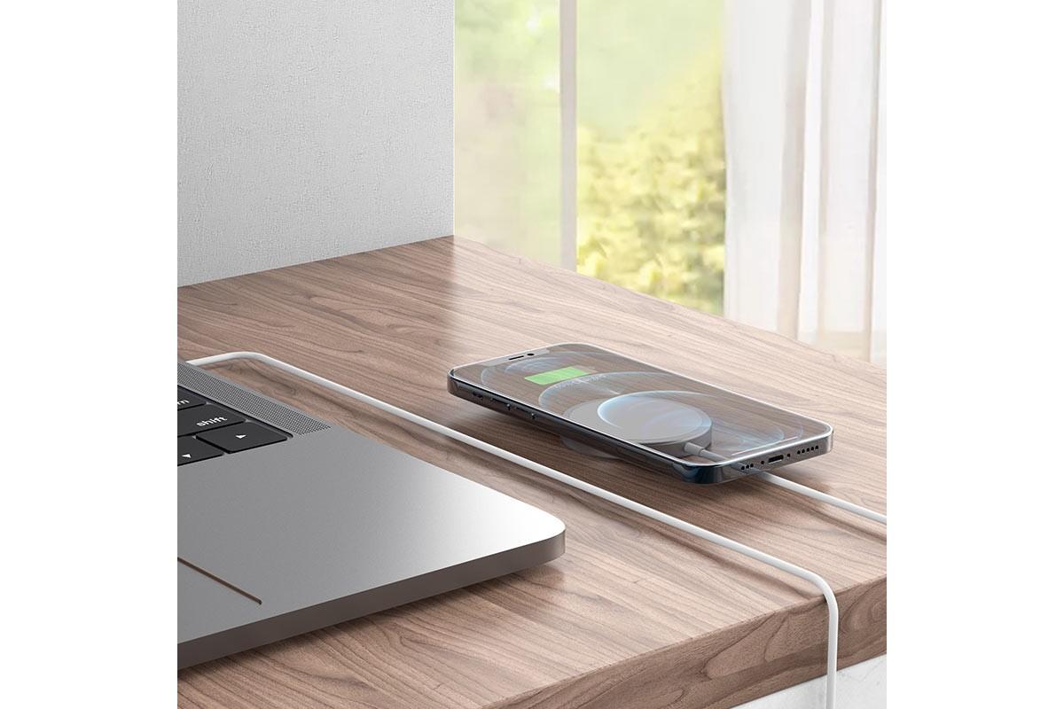 Настольная беспроводная зарядная станция HOCO CW30 Original series magn. wireless fast charger серебристая