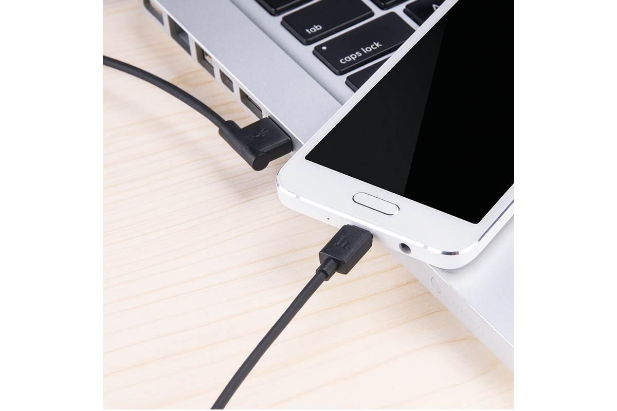 Кабель USB  micro USB HOCO L Shape черный, 1.2 м