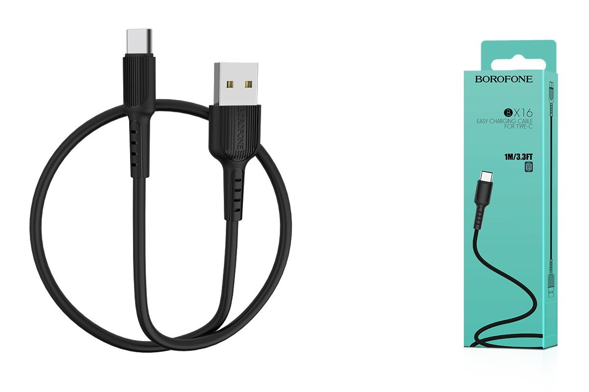 USB D.CABLE BOROFONE BX16 Easy charging cable for Type-C (черный) 1 метр