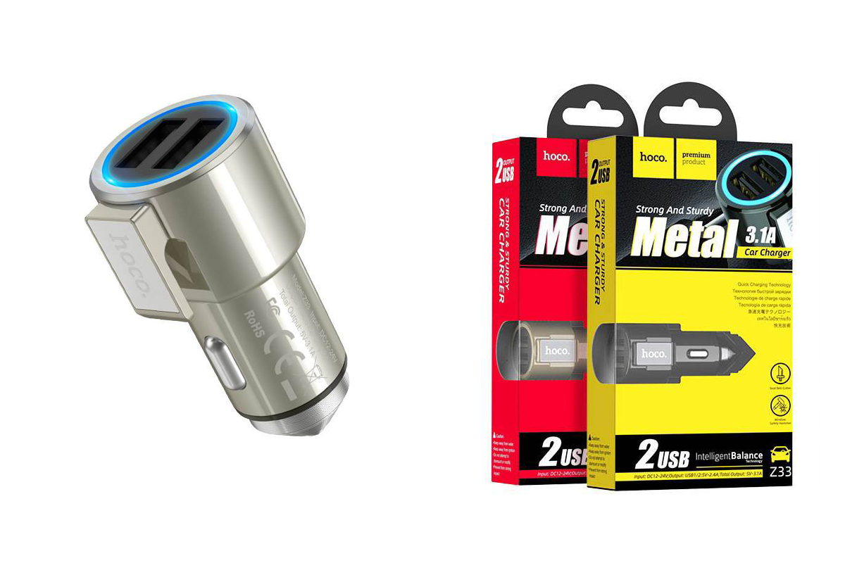 Автомобильное зарядное устройство 2USB HOCO Z33 Sword double port multi-function 3100 mAh золото