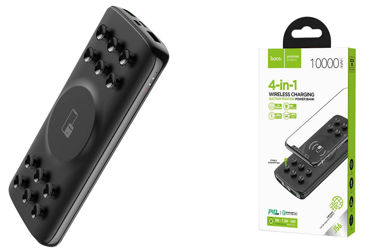 Универсальный дополнительный аккумулятор HOCO  J56 Sea power 10W wireless charging mobile power 10000 mAh черный