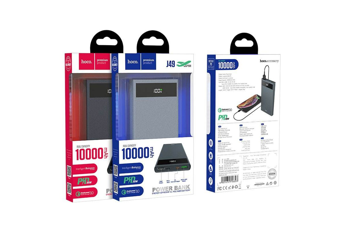Универсальный дополнительный аккумулятор HOCO  J49 Jewel PD+QC3.0 mobile power bank(10000mAh) серый