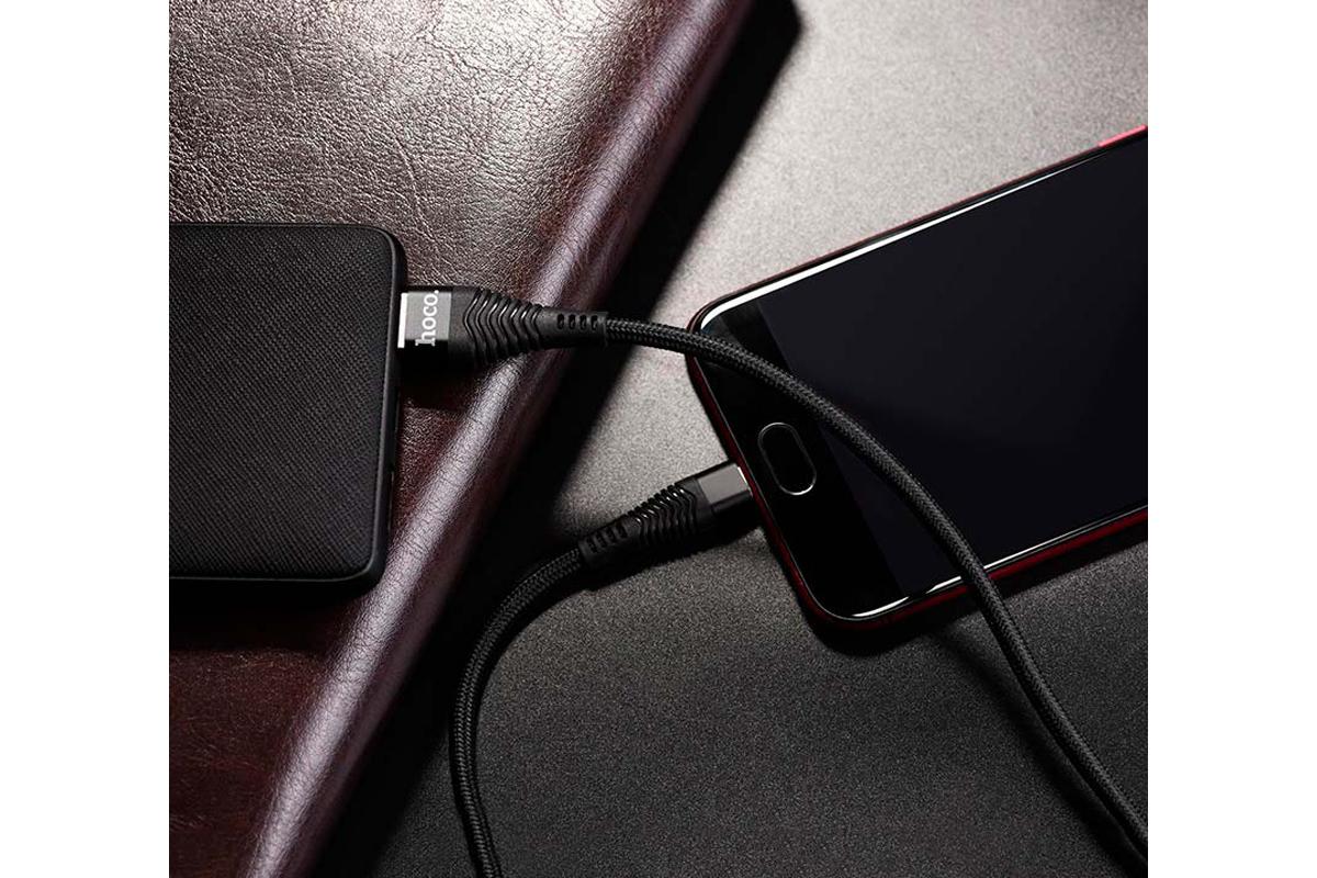 Кабель USB  micro USB HOCO U38 Flash charging data cable for OPPO (черный) 1.2 метра