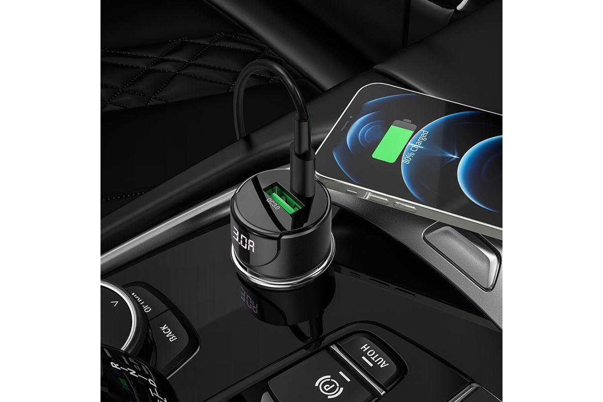 Автомобильное зарядное устройство USB+ Type-C HOCO Z42 Light road dual port digital PD20W+QC3.0 car charger черный