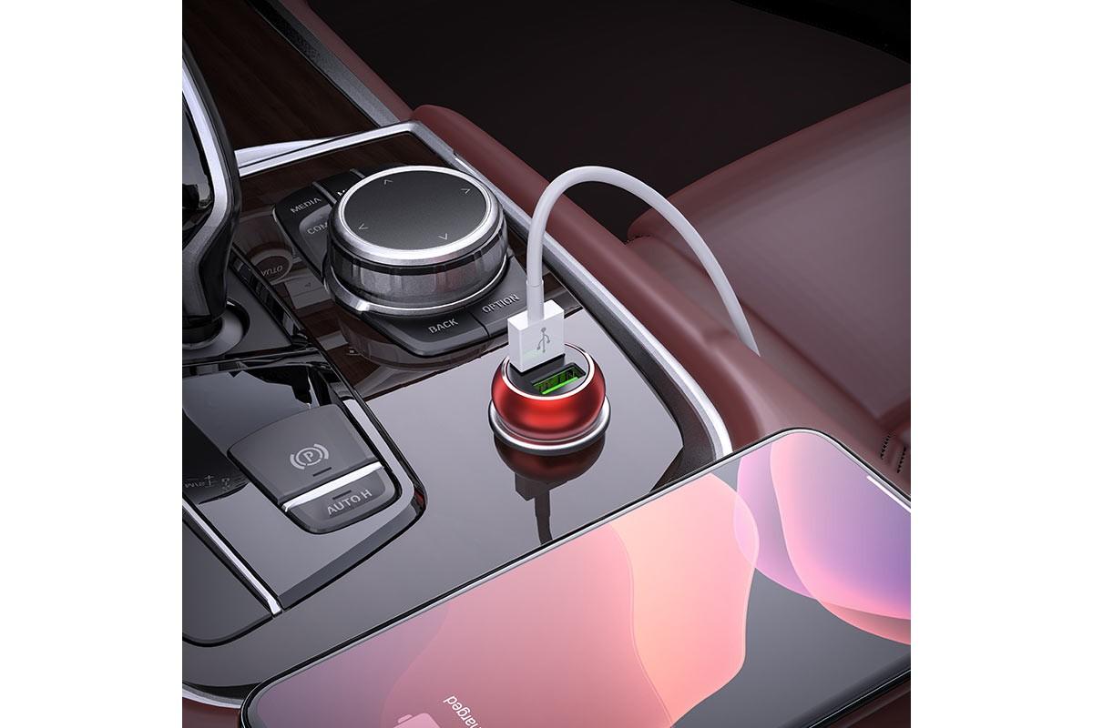 Автомобильное зарядное устройство USB HOCO Z37 Speed Up single port QC3.0 car charger красный