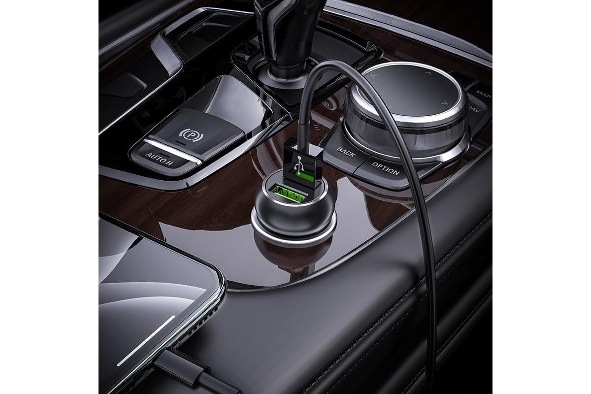 Автомобильное зарядное устройство USB HOCO Z37 Speed Up single port QC3.0 car charger черный