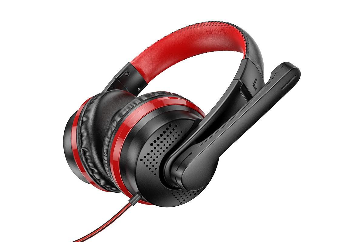 Наушники игровые HOCO W103 Magic tour gaming headphones черно красные