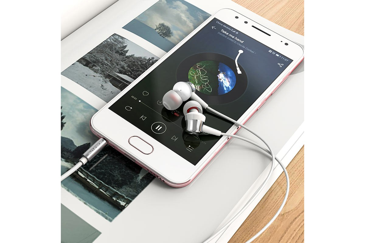 Гарнитура BOROFONE BM52 Revering universal earphones 3.5мм цвет серебристая