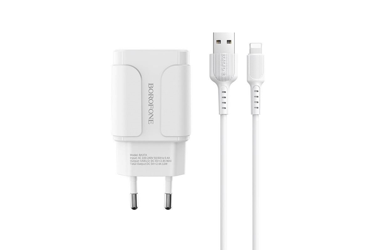 Сетевое зарядное устройство  2 USB 2100mAh + кабель micro USB BOROFONE BA37A Speedy dual port charger белый