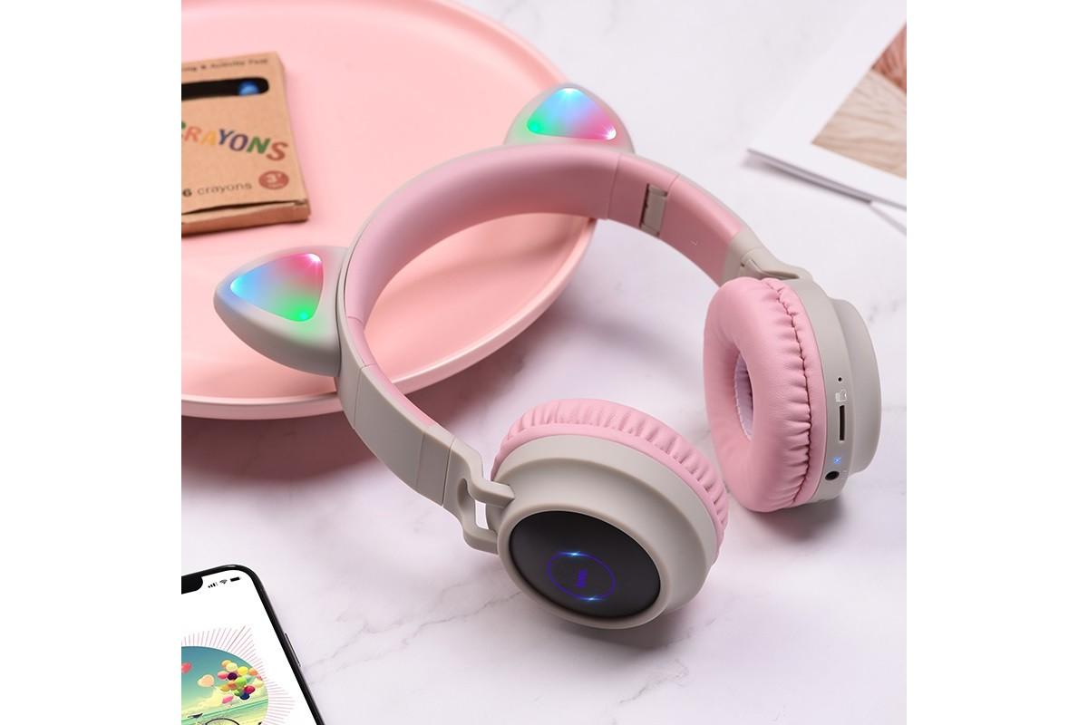 Беспроводные внешние наушники HOCO W27 Cat ear wireless headphones серый