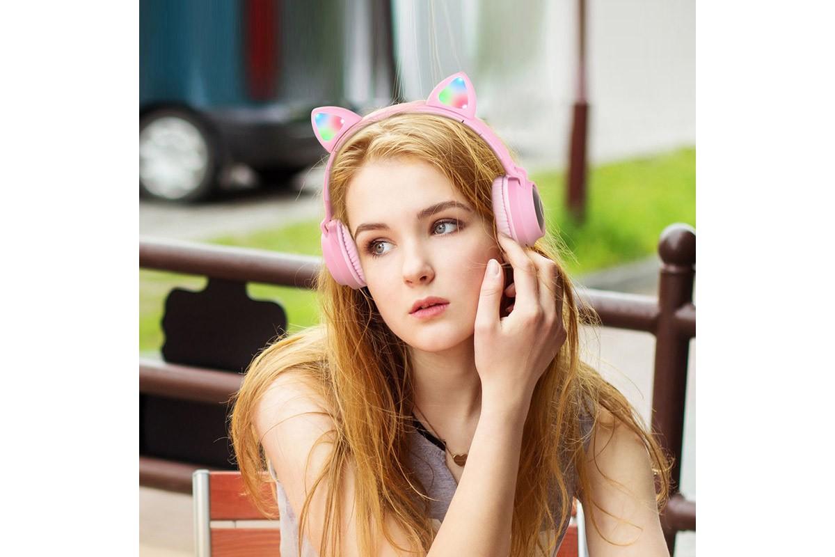 Беспроводные внешние наушники HOCO W27 Cat ear wireless headphones розовый
