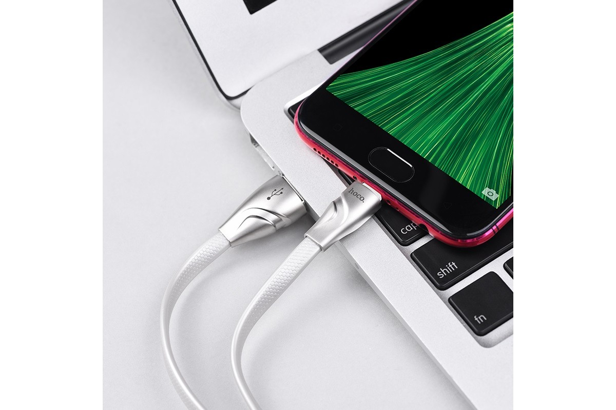 Кабель USB micro USB HOCO U57 Twisting charging data cable  (белый) 1 метр