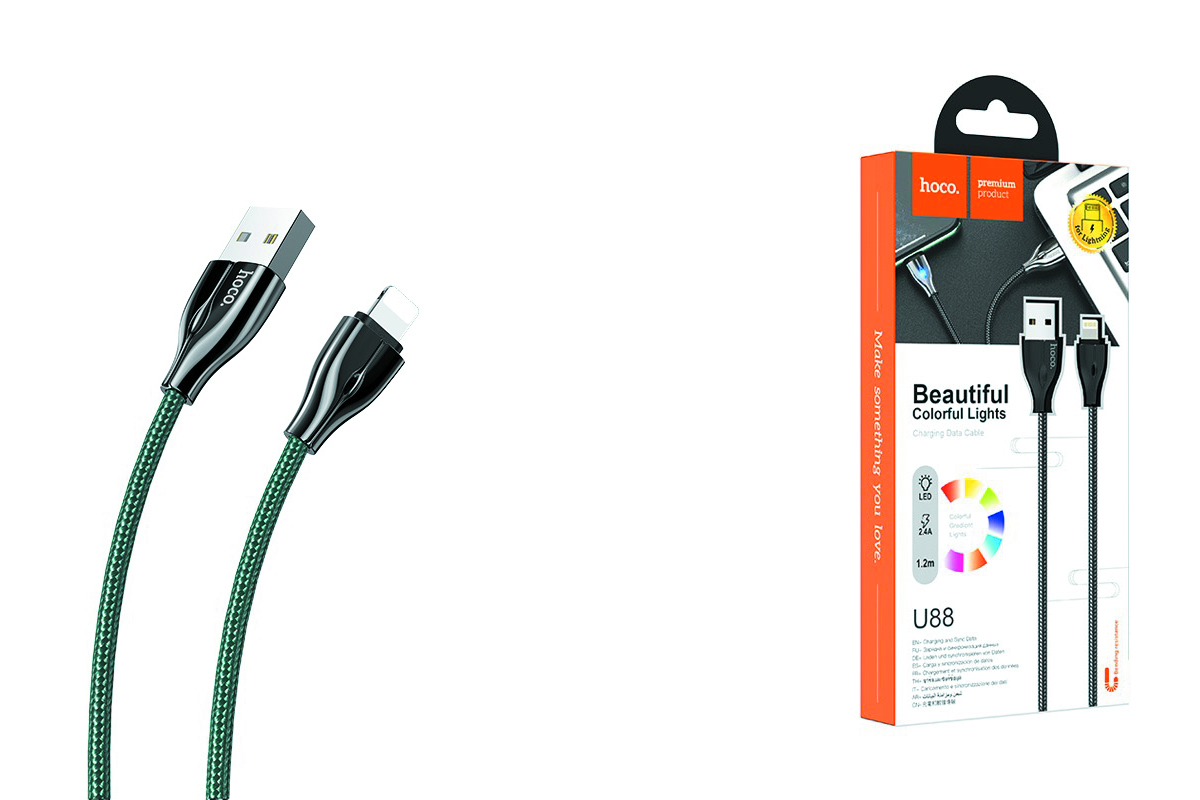 HOCO U88 Amazing colors charging cable for Lightning темно-зеленый
