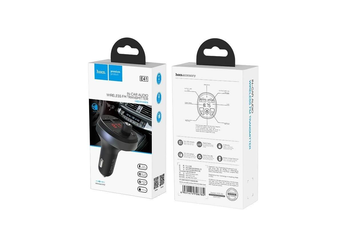 USB MP3 плеер +FM трансмиттер с диспл. HOCO E41 In-car audio wireless FM transmitter