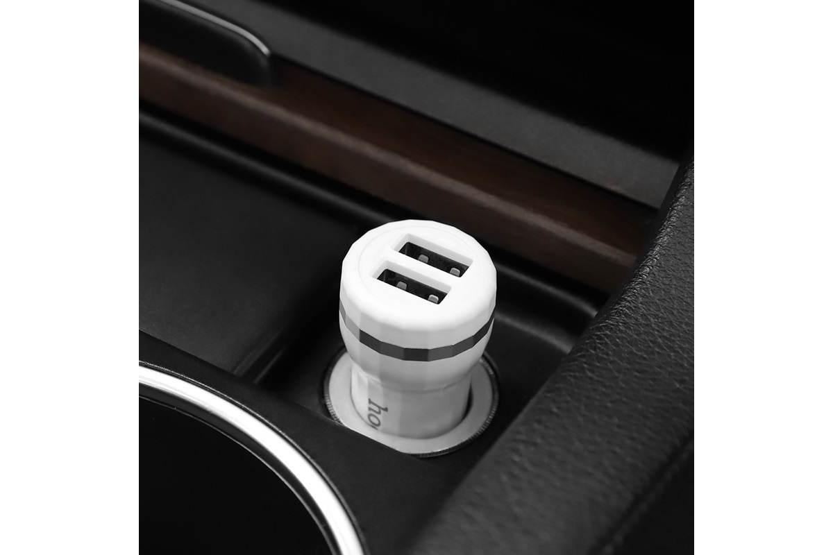 Автомобильное зарядное устройство 2USB HOCO Z30 Easy route dual port mini car charger 3100 mAh белый
