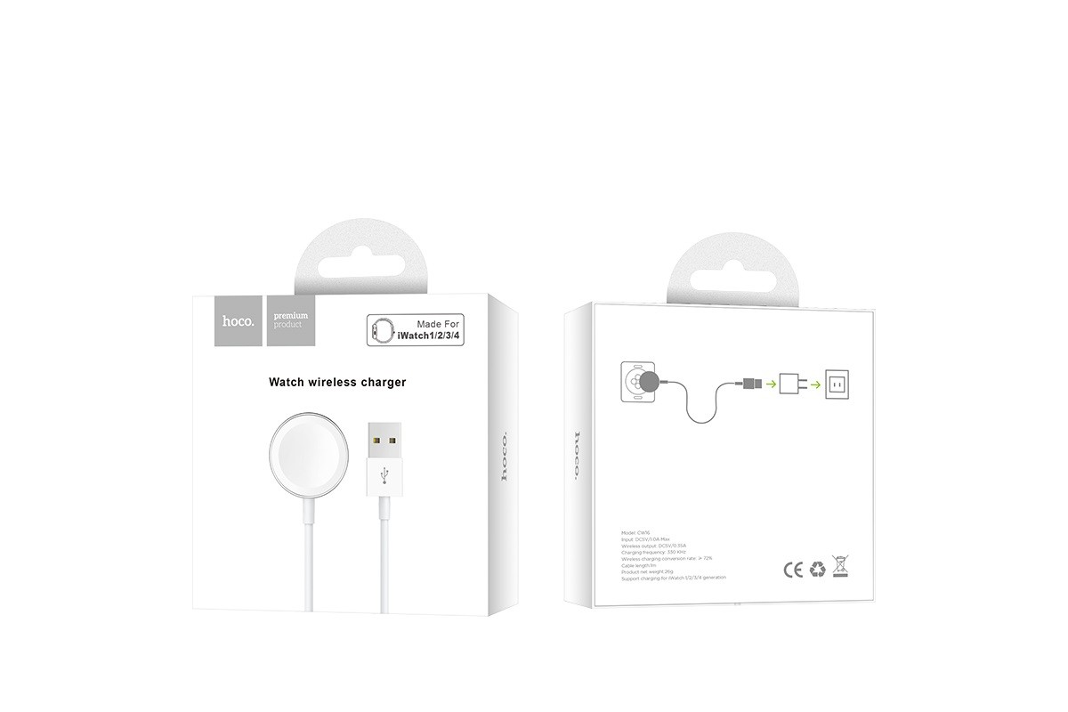 Настольная беспроводная зарядная станция HOCO CW16 iWatch wireless charger белая