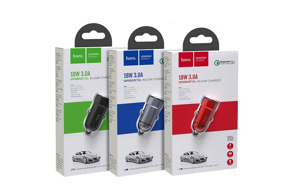 Автомобильное зарядное устройство USB HOCO Z32 Speed Up single port QC3.0 car charger черный