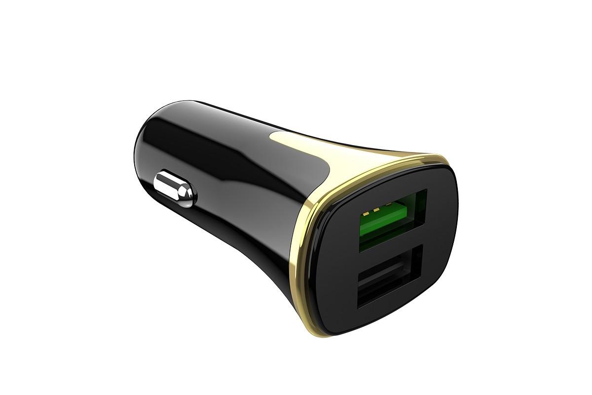 Автомобильное зарядное устройство 2USB 2400mAh HOCO Z31 Universe double port QC3.0 car charger set (Type-C) черный