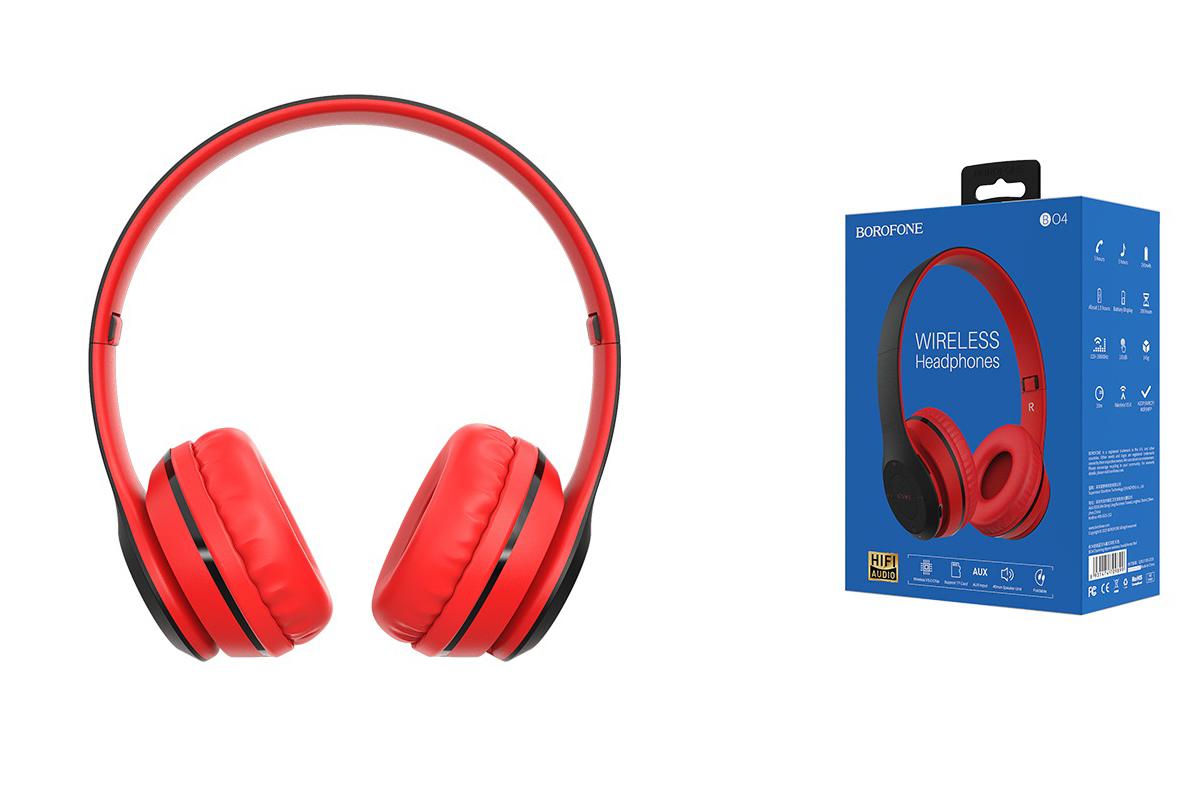 Беспроводные внешние наушники BO4 BOROFONE Charming rhyme wireless headset красный