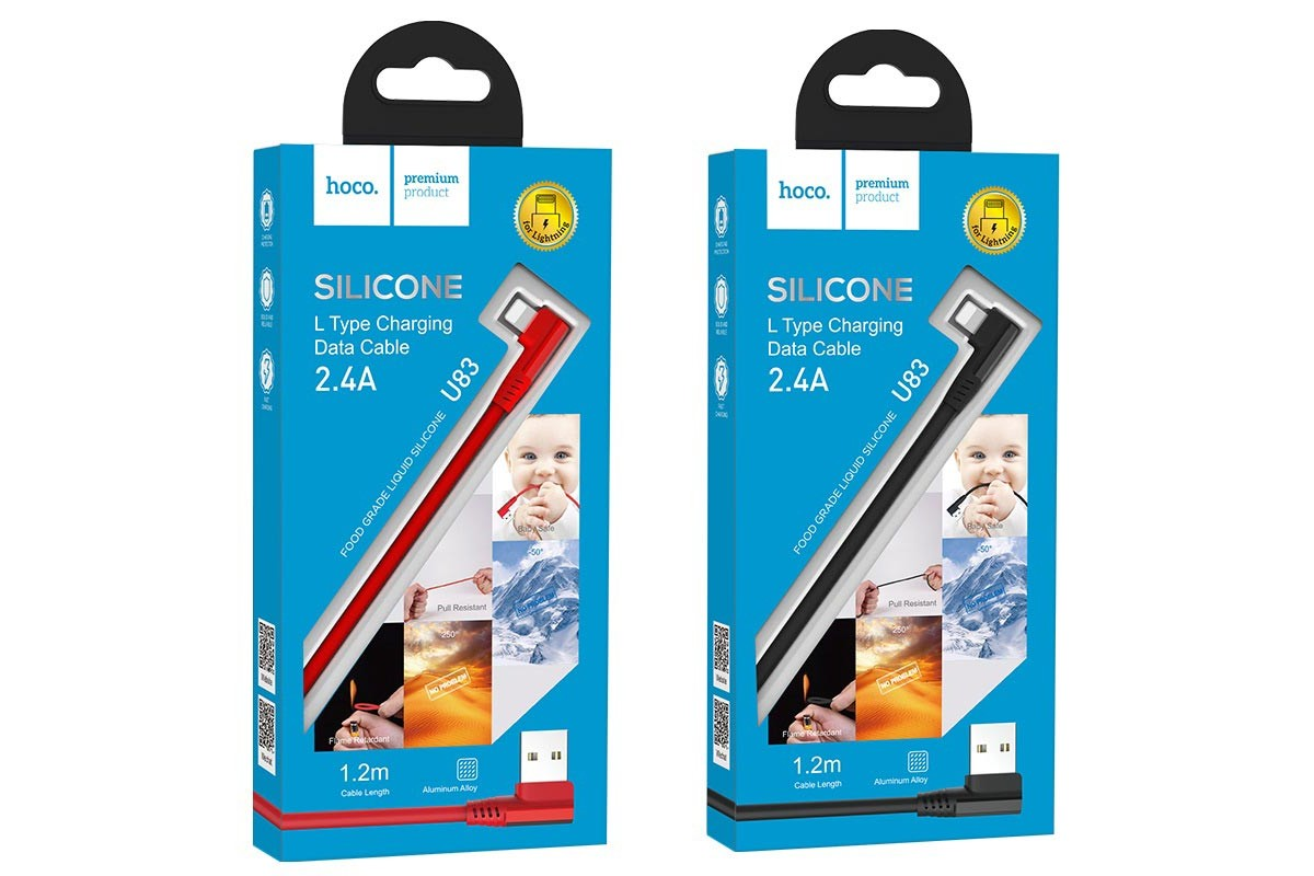 Кабель для iPhone HOCO U83 Puissant silicone charging cable for Lightning красный