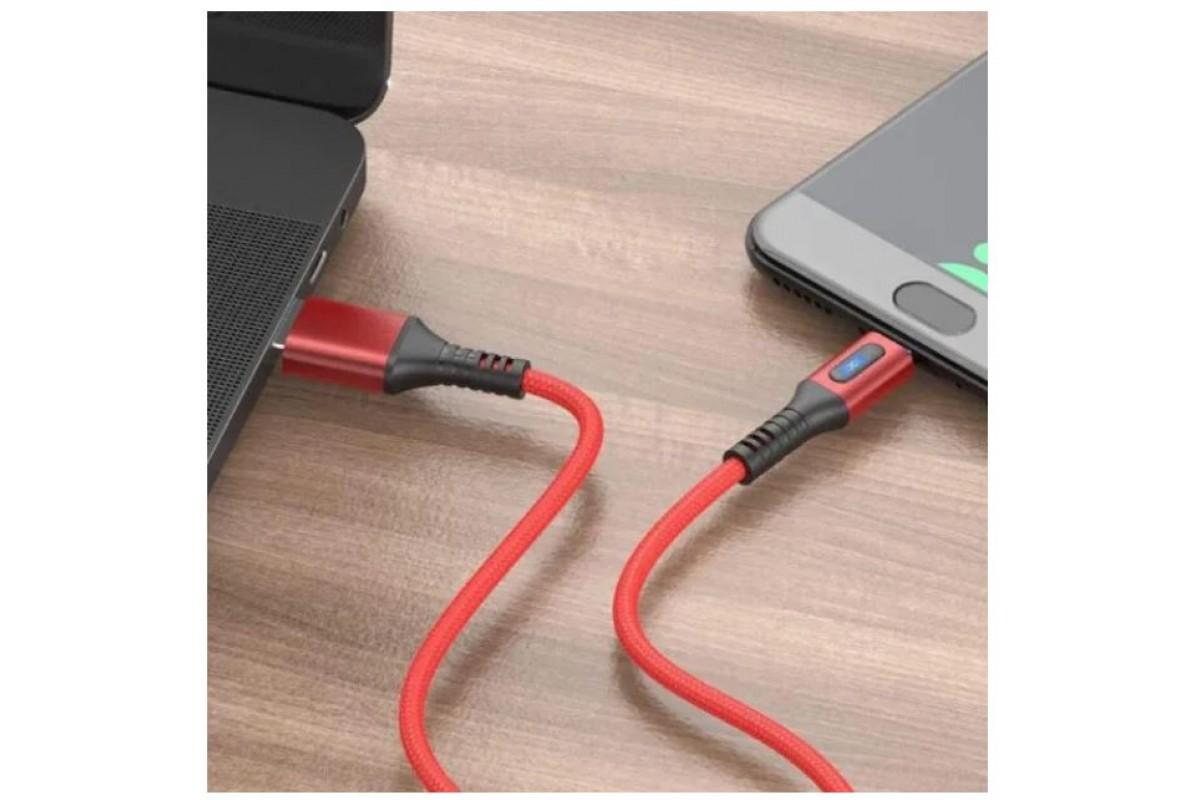 Кабель для iPhone HOCO U79 Admirable smart power off charging data cable Lightning красный