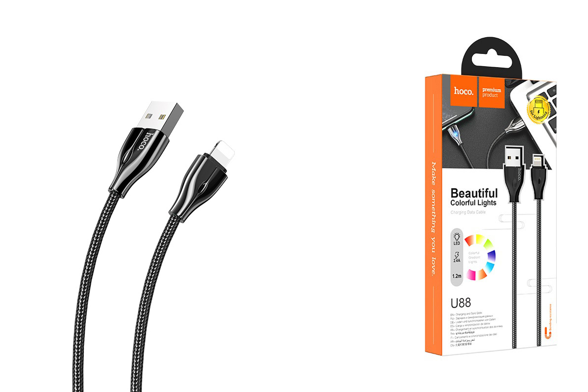 HOCO U88 Amazing colors charging cable for Lightning черный