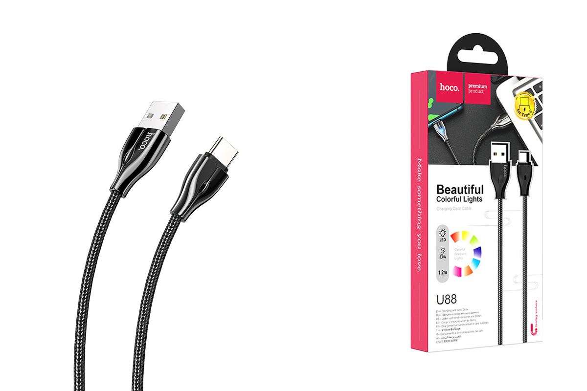Кабель USB HOCO U88 Amazing colors charging cable for Type-C (черный) 1 метр