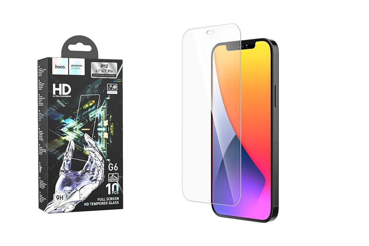Защитное стекло дисплея iPhone 12 Mini (5.4)  HOCO Flash attach Full Screen HD tempered glass  черн