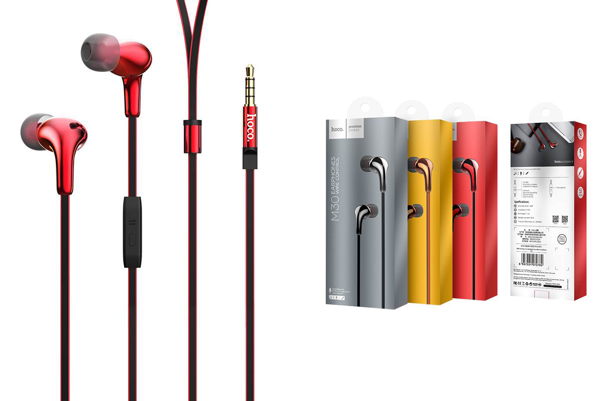 Гарнитура HOCO M30 Glaring universal earphones with microphone 3.5мм красный
