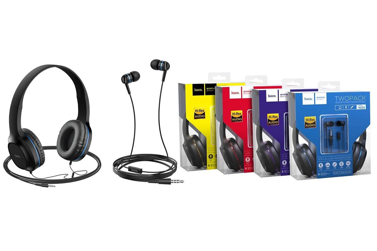 Внешние наушники/гарнитура  HOCO W24 Enlighten headphones with mic set фиолетовый