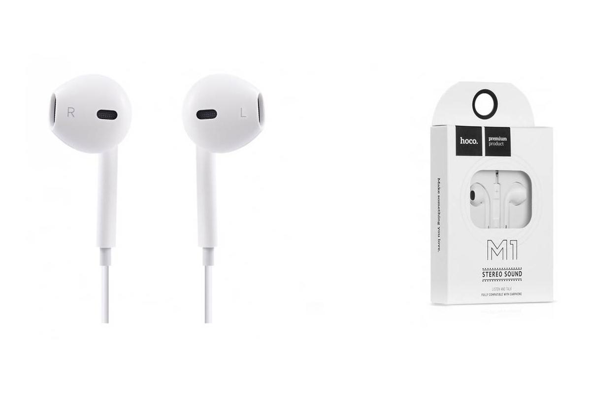 Гарнитура HOCO M1 (наушники с микрофоном) iPhone 5/5S/5SE/5C цвет белый (под оригинал)