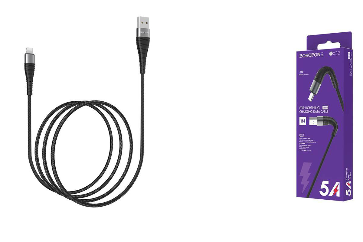Кабель для iPhone BOROFONE BX32 Munificent charging data cable for Lightning 1м черный