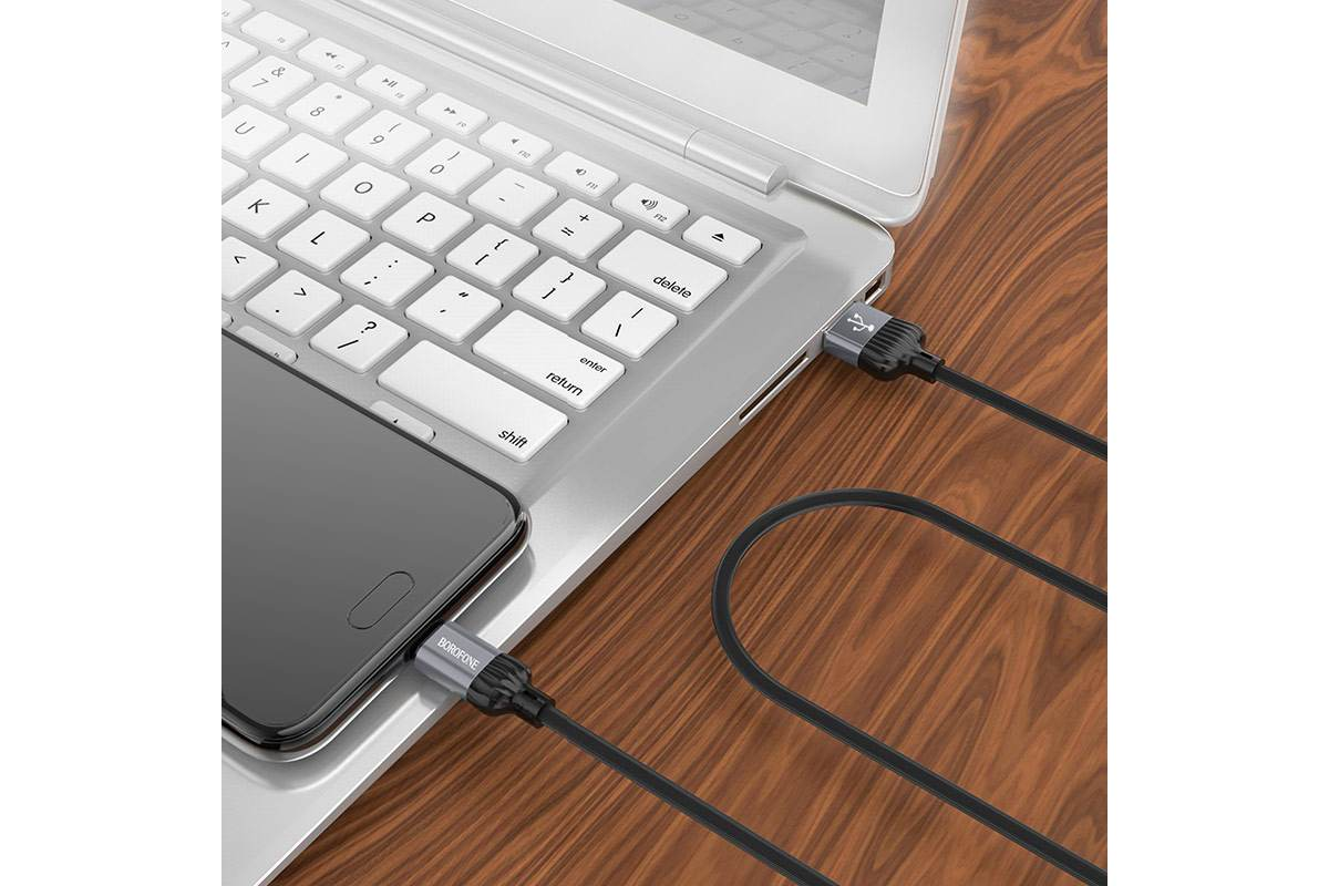 Кабель USB micro USB BOROFONE BX28 Dignity charging data cable  (серый) 1 метр
