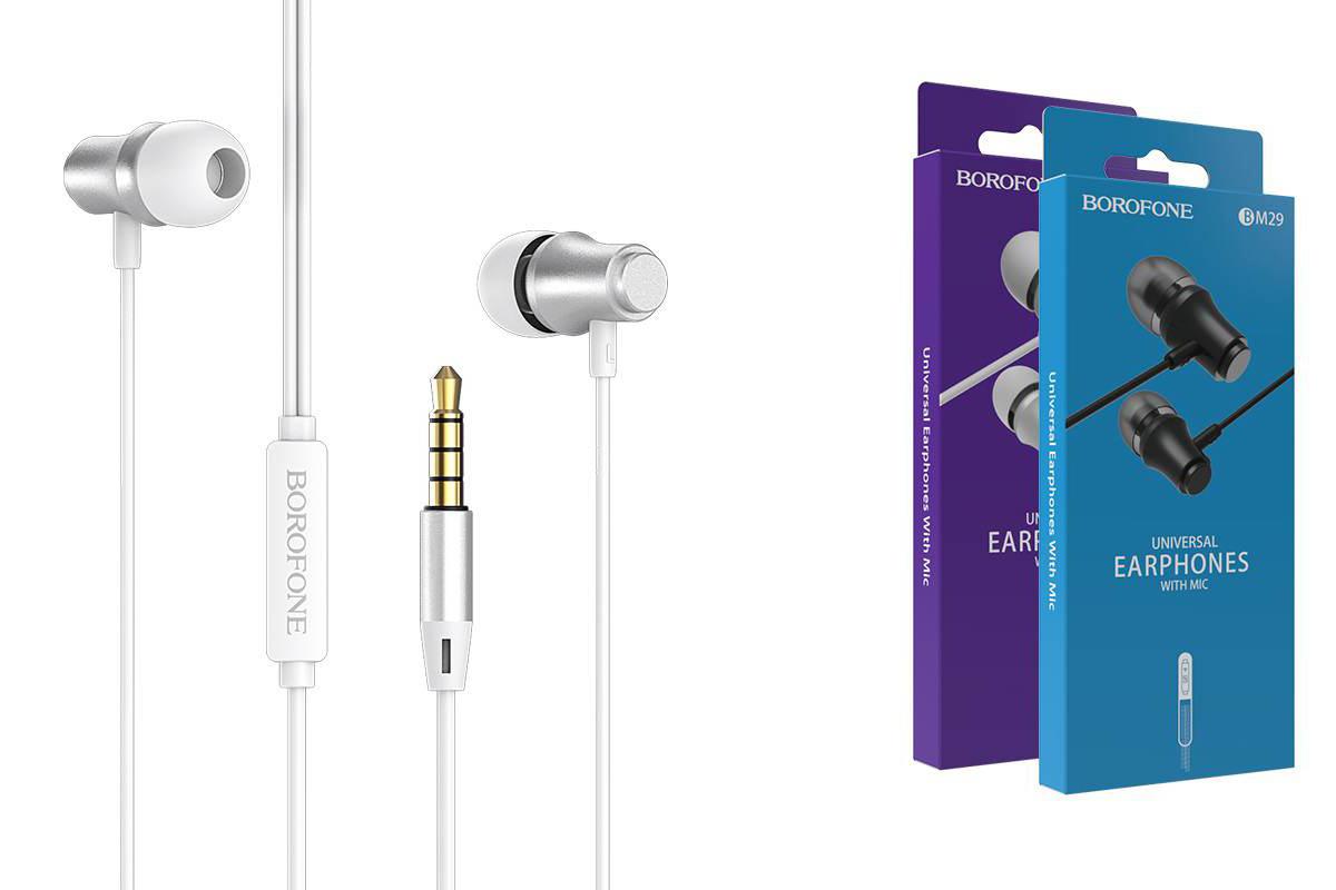 Гарнитура BOROFONE BM29 Gratified Universal earphones 3.5мм цвет серебристая
