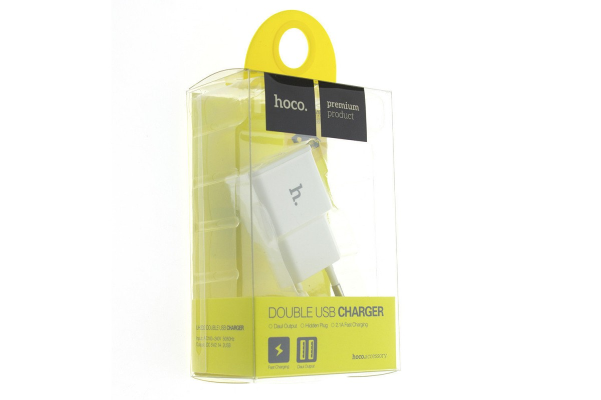Сетевое зарядное устройство USB 2400mAh  HOCO UH202 Smart charger белый